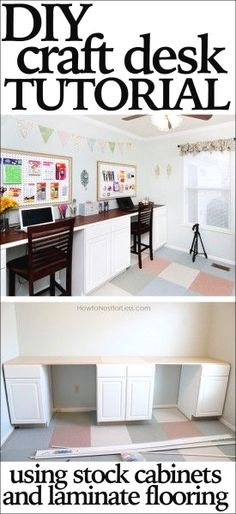 Room Desk Tutorial DIY craft desk tutorial or makes a great homework station with tons of storage and workspace!DIY craft desk tutorial or makes a great homework station with tons of storage and workspace! Diy Crafts Desk, Craft Room Desk, Craft Room Storage, Room Organization, Home Crafts, Diy Desk, Craft Space, Garage Storage, Bedroom Storage
