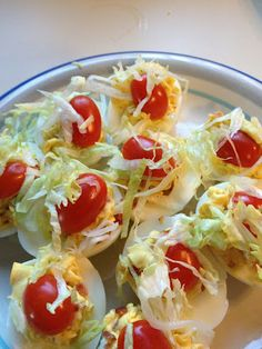 Bacon, Lettuce, Tomato Deviled Eggs. The perfect Thanksgiving appetizer!