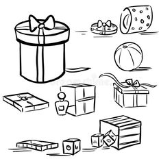 Diy Cards Tutorial, Doodle Box, Draw A Box, Present Gift, Line Drawing, Doodles, Boxes, Presents, Drawings