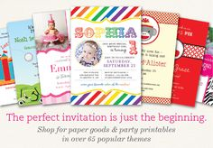 Chickabug Paper and Printables - Find the perfect invitation and much more from over 65 party themes