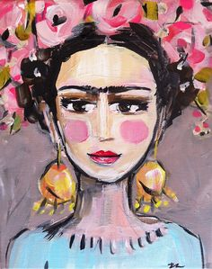 Frida Kahlo Painting Canvas pinks by DevinePaintings on Etsy