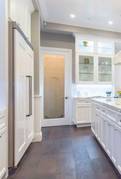 For a modern, clean kitchen like this, install a pantry door with privacy glass. This ETO door adds aesthetic appeal to the kitchen while keeping the pantry's contents out of sight.