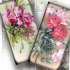 Vintage flowers domino images digital collage 1x2 inch collage sheets jewelry making paper supplies download art (092) BUY 3 GET 1 FREE. $2.99, via Etsy.