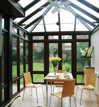 Our modern glass conservatories extensions add a stunning new look to your home, giving you a sleek new space to relax, entertain and enjoy. Conservatory Dining Room, Modern Conservatory, Conservatory Extension, Glass Conservatory, House Extension Design, Extension Designs, Glass Extension, Happy Room, House Extensions