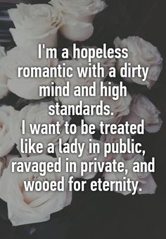 I'm a hopeless romantic with a dirty mind and high standards.  I want to be treated like a lady in public, ravaged in private, and wooed for eternity.