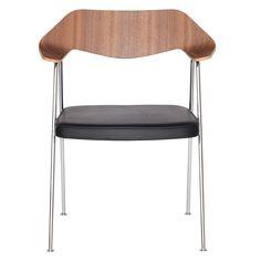 Robin Day 675 Chair Walnut & Chrome Leg