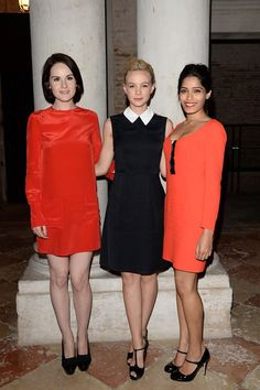 Michele Dockery, Carey Mulligan and Frida Pinto at Miu Miu's attend the Miu Miu Women's Tales dinner hosted by Miuccia Prada at the Ca' Corner on August 29, 2013 in Venice, Italy