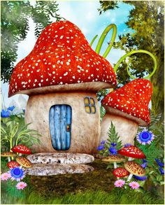 Fairy Mushroom House Tubes, the perfect place for your faes and other fantasy characters. Create a whimsical fantasy scene with these adorable fae homes. Mushroom House, Mushroom Art, Fairy Pictures, Fairy Garden Houses, Fairy Doors, Fairy Art, Painted Rocks, Fantasy Art, Fairy Tales