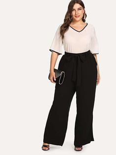 Plus Knot Front Wide Leg Pants Plus Size Pants, Plus Size Dresses, Plus Size Outfits, Wide Leg Pants, Black Pants, Georgia, Pantalon Large, Type Of Pants, Bleu Marine