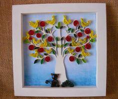 Quadro em quilling árvore com gatinho <br> <br>Formato de 25c25 cm <br> <br>Incrível para decorar o quarto infantil