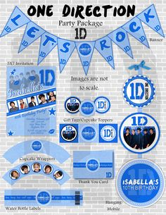 ONE DIRECTION Printable Birthday Decoration Party by sweete1976, $20.00