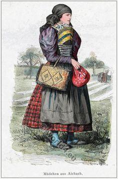 Traditional Bavarian folk costume. [Franz Lipperheide, 1876-1887]