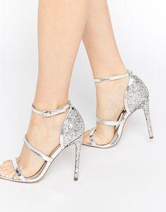 ASOS - HUSTLE - Sandalen mit Absatz - Silber glitzernd