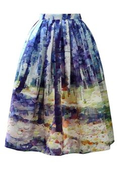 Autumn Forest Painting Midi Skirt... I'm thinking Van Gogh episode of doctor who. A painted landscape skirt with a button-down top and a bill night bow tie, with glasses.