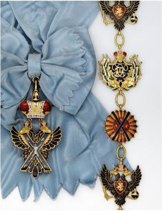 A Magnificent and Rare Gold and Enamel Collar And Blue Silk Sash Badge of the…
