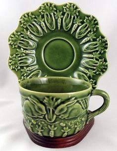 Bordallo Pinheiro ~ Portugal ~ Rabbit-Green ~ Cup & Saucer Set | eBay