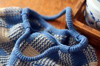 ギンガムチェックのギャザーバッグ_かぎ針編み