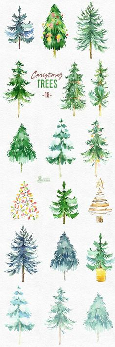 This set of 18 high quality hand painted watercolor Christmas trees. This set of 18 high quality hand painted watercolor Christmas trees. Watercolor Christmas Tree, Christmas Tree Drawing, Illustration Noel, Forest Illustration, Christmas Illustration, Painting Inspiration, Inspiration Quotes, Art Lessons, Watercolor Paintings