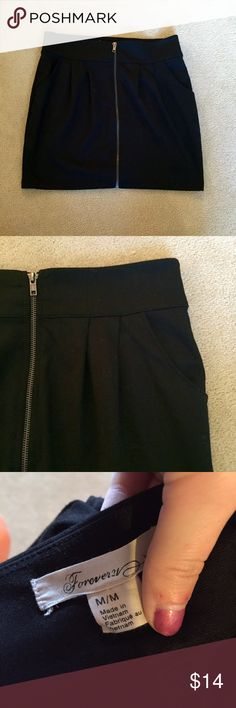 Forever21 • Black Zipper Skirt Classic little black skirt, zips up the front and also has front pockets. Worn 2-3 times. Bundle to save. No PayPal, no trades, offers via offer button only. [bin5] Forever 21 Skirts Mini