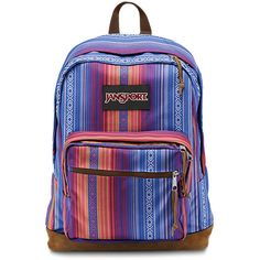 JanSport Right Pack World Vivid Purple Acapulco Ombre Stripe ($64) ❤ liked on Polyvore featuring bags, backpacks, backpacks bags, multi color backpack, purple backpack, suede backpack and suede bag