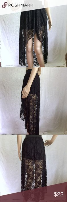 "Black Lace High Low Skirt Black lace high low skirt. New never worn.                          Mannequin Measurements: Height-68.9"" Bust-32.2"" Waist-24"" Hip-33.8"" *Please note not all of my items fit my mannequin correctly* Goddess Skirts High Low"