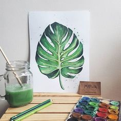 "Mr. Monstera! I have always loved leaves and only now painted one... <span class=""emoji emoji1f4a5""></span>3 days onlyyyyy SAVE 15% off ..."