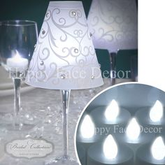 24 WINE GLASS SHADES + 24 WHITE LED TEA LIGHTS Candle Table Decor WEDDING PARTY