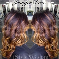 A rich chocolate base with blonde highlights completes this gorgeous ombre' hair that will match all skin tone. Get your fabulous hair inspiration with this look.