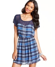 $14, Blue Plaid Skater Dress: Keds Juniors Dress Short Sleeve Plaid Sweetheart. Sold by Macy's. Click for more info: http://lookastic.com/women/shop_items/120934/redirect