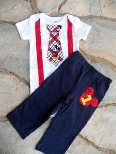 Mickey Mouse Birthday Tie and Suspender Bodysuit with Pants for Baby Boy First Birthday Clothing Birthday Party Little Man Tie Outfit