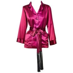 """Preowned Yves Saint Laurent Satin """"smoking Jacket"""" ($995) ❤ liked on Polyvore featuring outerwear, jackets, dinner jackets, multiple, purple smoking jacket, long tuxedo jacket, yves saint laurent jacket, purple jacket and tux jacket"""