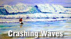 Online Art Class - Painting Crashing Waves - Paint Basket TV Art Lessons Online, Online Art Classes, Basket Tv, Painted Baskets, Crashing Waves, Watercolor Paintings, Watercolour, Painting Tutorials, Outdoor