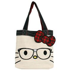Loungefly - Hello Kitty Nerd Face Tote Bag (185 BRL) found on Polyvore featuring women's fashion, bags, handbags, tote bags, accessories, hello kitty, tote handbags, pink tote purse, pink hello kitty purse and tote hand bags