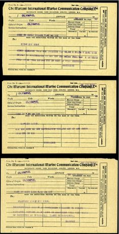 "Three early Titanic Marconigrams, or radio telegrams. All three were sent on April 15, 1912, the date of the Titanic's sinking. Of these, the earliest was sent at 7:45 am from the rescue ship Olympic. It states: ""Since midnight, when her position was 41.46 N 50.14W have been unable to communicate. We are now 310 miles from her. Will inform at once if hear anything""."