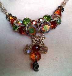 Upcycled Vintage Autumn gold Necklace by TheRabbitsNook on Etsy, $20.00