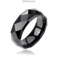 Black faceted tungsten carbine ring with drop down edges #mspiercing #piercings