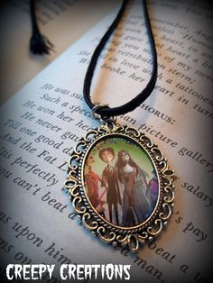 Corpse Bride necklace glitter art  cameo by Flamethrowerluv13.