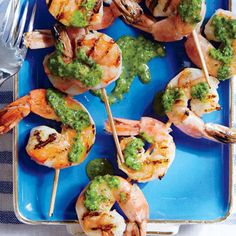 Forget shrimp cocktail--this will be your go-to party staple from now on. You could take the shrimp off the skewers for the platter, but the pick-up nature of kebabs is great for parties. Grilled Shrimp Recipes, Fish Recipes, Seafood Recipes, Appetizer Recipes, Shrimp Appetizers, Chimichurri Shrimp, Shrimp On The Barbie, Cooking Light Recipes, Healthiest Seafood