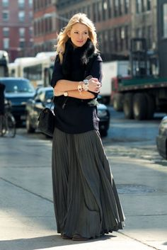 slate grey pleated maxi skirt and a cozy sweater