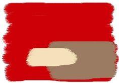 Farbkombination in Rot - Wandfarben in: Salsa - Macchiato - Cream - Vorschlag: Wohnzimmer