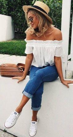 #summer #outfits / off the shoulder + denim