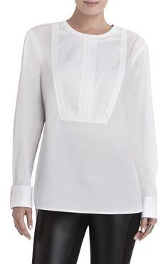 Bcbg max azria quot kelin quot women s long sleeve tuxedo shirt white top
