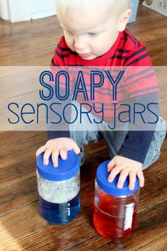 Sensory jars are a simple sensory activity for toddlers, make a sensory jar with soap! These soapy sensory jars are fun for toddlers to shake up and watch!