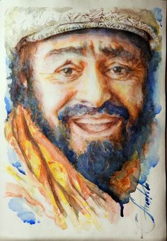 Luciano Pavarotti. Watercolor without Drawing 30x42sm. Agoshkova
