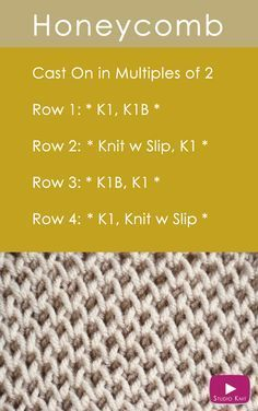 How to Knit the Honeycomb Stitch Pattern with Studio Knit via @StudioKnit
