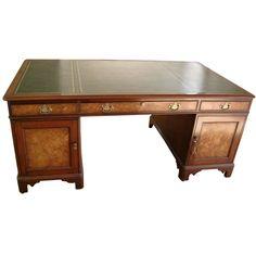 Antique Georgian Style Mahogany Pedestal Writing Desk Writing Desk Desk Mahogany