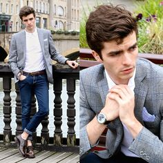 "Matthias Cornilleau - Guess Watches Blue Dual Watch, Samson Prince Of Wales Blazer, Pochette Square Linen Pocket, Indigo Skinny, Bellerose White Polo, The Frye Company Cordovan Shoes - ""Agénor"""
