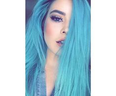 hair and blue resmi Hair Dye Colors, Cool Hair Color, Hair Colour, Frontal Hairstyles, Cool Hairstyles, Blue Wig, Coloured Hair, Lace Hair, Green Hair