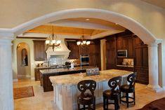 Kitchens by Stadler Custom Homes mediterranean kitchen Modern Kitchen Island, Modern Kitchen Design, Interior Design Kitchen, Beautiful Kitchen Designs, Beautiful Kitchens, Cool Kitchens, Mediterranean Kitchen Decor, Online Home Design, Before After Kitchen
