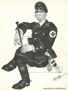 "arthur szyk depiction of an SS officer is truly horrifying. The pose - the face - shreik ""evil""!"